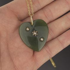 Antique Seed Pearl Jade Heart Pendant Necklace