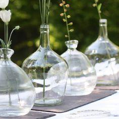 organic bottle shape glass vase by the wedding of my dreams | notonthehighstreet.com