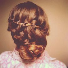 Waterfall braid, into a french braid with the length braided and coiled into a bun. Wedding hair, long hair, updo.