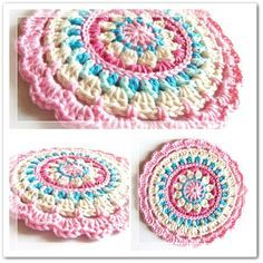 """Crochet Pattern: """"Little Spring Mandala"""" circle motif or potholder pattern by Barbara of """"Made in K-town,"""" made-in-k-town.blogspot.de (28 May 2012). Please respect the designer's Intellectual Property rights as an artist. If you wish to make these for sale, Get Her Permission First."""
