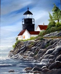Rocky Coast Lighthouse - beautiful - by Ragtop Designs
