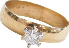 wide band diamond solitaire rings