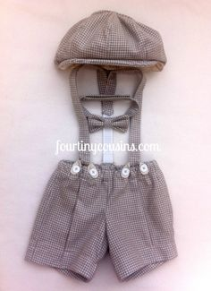 Henry Newsboy set in Gray Houndstooth Flannel.  Knickers, Suspenders, Bow tie, and Newsboy Hat. Great Photo Prop for all ages.. $92.00, via Etsy.