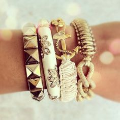 Arm Party c/o the pearled heart - I want that Anchor one bad!