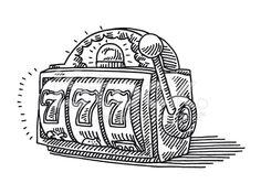Slot Machine Jackpot Drawing royalty-free vector art illustration