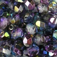 Magic Blue 6mm Czech fire-polished, faceted, round glass beads. Very sparkly: part transparent crystal, part rainbow finish in shades of sapphire, purple and green. UK seller.