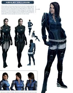 Ashley Williams concept art showing how she has changed over the three games