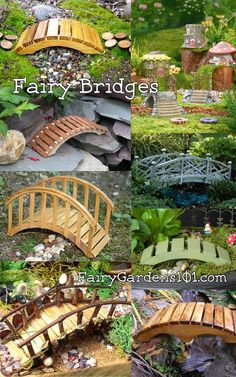 Fairy Bridges, could use almost any medium for these. Note also how they made the 'streams' below them. #MiniGarden