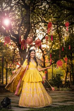 Looking for Pretty yellow lehenga with long peplum blouse? Browse of latest bridal photos, lehenga & jewelry designs, decor ideas, etc. on WedMeGood Gallery. Indian Bridal Outfits, Bridal Dresses, Yellow Lehenga, Floral Lehenga, Saree Gown, Lehnga Dress, Designer Bridal Lehenga, Haldi Ceremony, Bridal Looks