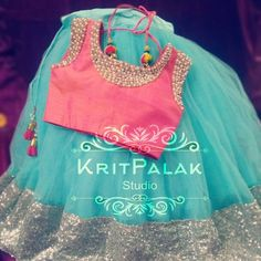Call or Whatsapp 8288944518 to get details for this beautiful little lehanga. KritPalak work on customised design orders for bridal saree-blouses, lehangas,. Kids Party Wear Dresses, Kids Dress Wear, Baby Girl Party Dresses, Kids Gown, Dresses Kids Girl, Kids Outfits, Birthday Dresses, Girls Frock Design, Kids Frocks Design