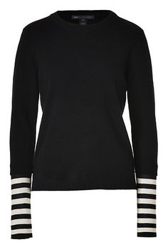 MARC BY MARC JACOBS - Black Cashmere Zag Pullover with Cream Striped Silk Cuffs