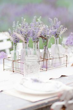 Glass bottles filled with lavender