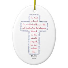 John 3:16 Red, White and Blue Cross Ornaments   •   This design is available on t-shirts, hats, mugs, buttons, key chains and much more   •   Please check out our others designs at: www.zazzle.com/TsForJesus*