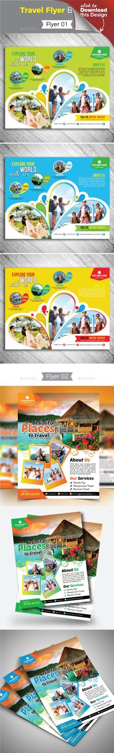 """ad, advertisement, agency, agent, beach, bundle, day out, destination, family visit, flyer, holiday, holiday flyer, holidays, hotel, magazine ad, packages, pamphlet, poster, promotion, tour, tourism, travel, travel agency flyer, travel flyer, travelling, trip, tropical, vacation Flyer 01:    Size: 11''x8.5''   Bleed: .125""""   Three color variations  Fully editable Illustrator AI & EPS file   Color mode: CMYK   Files Included : adobe illustrator CS4 & CS Format (AI, EPS)   Free fonts ..."""