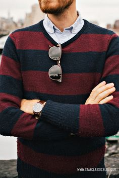 Details from March 19, 2013. Sweater:Frank  Oak- $50 (but free with referral credit)Shirt:Club Collar Oxford- Topman - $45Jeans:American Eagle- $26Boots: Dune - Topman - $120 (similar)Sunglasses -Ray Ban Clubmasterin Tortoise- $89Watch:Timex- Amazon - $31Belt: Levis - $10 (Marshalls) (similar)