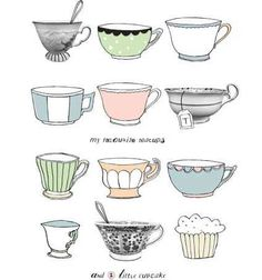 Illustration work by Dutch illustrator Kim Welling – fresh and colorful illustrations of everyday life, people, animals and hand lettering Coffee Illustration, Illustration Art, Tea Cup Drawing, Zentangle, Pretty Drawings, Tea Art, My Cup Of Tea, Food Illustrations, Stencil