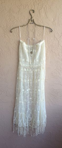 Beach wedding dress Romantic Bohemian gypsy goddess Ivory sheer embroidered Lace slipdress with fringe hem