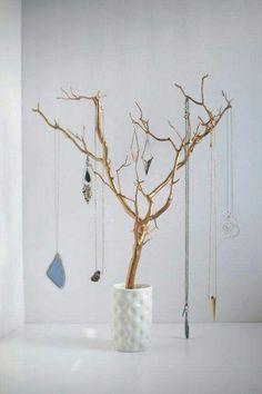 Gold tree branches Jewelry organizer Visual Merchandising #jewellerydisplay