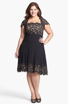 Tadashi Shoji Mixed Media Fit & Flare Dress (Plus Size) available at #Nordstrom