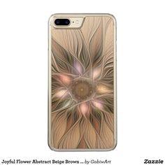 Joyful Flower Abstract Beige Brown Floral Fractal Carved iPhone 7 Plus Case