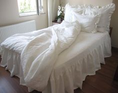 Hey, I found this really awesome Etsy listing at https://www.etsy.com/listing/108985790/white-or-ivory-linen-shabby-chic-bedding