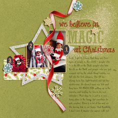 """We Believe in Magic at Christmas"" digital scrapbooking layout by Laurel Lakey, made with Brush Set: Holiday Sayings 1 Biggie digital scrapbooking kit, by Laurel Lakey: Scrap Girls"