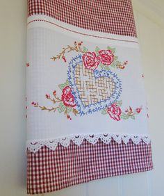 My Heart be Still a Homespun Tea Towel Spring by TwoGirlsLaughing