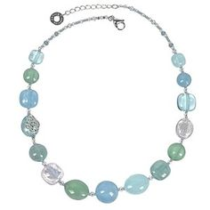 Antica Murrina Necklaces Florinda Light Blue and Green Murano Glass Beads Necklace