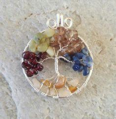 Tree of life, deze staat symbool voor een gezin. In opdracht gemaakt met granaat, jade, rookkwarts, sodaliet en fluoriet. Customordered. www.facebook.nl/kikakoscreaties
