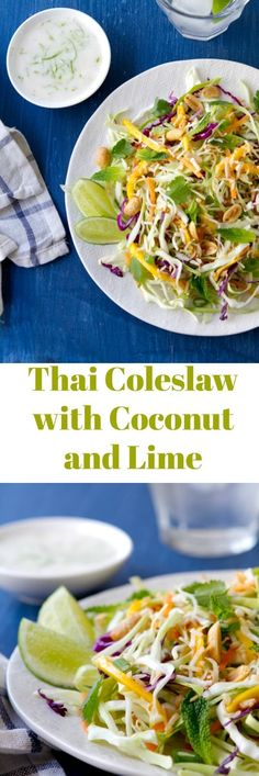 A Thai spin on classic coleslaw, this Thai coleslaw, flavored with coconut and lime is creamy, crunchy and a little spicy! Serve with chicken, fish or pork!