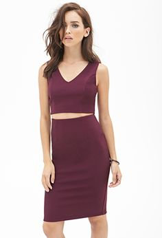 Red Purple Ribbed Knit Pencil Skirt | FOREVER21 - 2000138409 $13