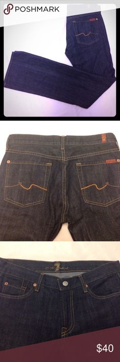 """FINAL PRICE Host Pick 🍁 7FAM Jeans These are a great pair of 7 for all mankind bootcut jeans. They are designed by Jarome Dahan. They are a really nice dark wash. They are listed as NWT, but only the sticker tag is attached. There is a slight flaw in the front left leg shown in the last pic. It's a little snag but not quite a hole. Priced accordingly. They have never been washed or worn. Front rise 8.5"""", back rise 13"""" approx. Size 28. Inseam 34"""". 7 For All Mankind Jeans Boot Cut"""