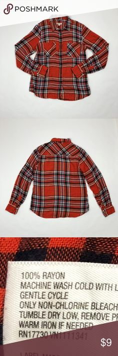 "Merona Red Plaid Shirt Size M Merona red, blue and white plaid shirt.  Approximate measurements. Chest 19.5"" Length 23"" Sleeve 25"" RTS #1037 Thank you! Merona Tops"