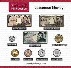 "easy-japan: "" Japanese Money! This vocabulary is very useful especially if you're going to travel to Japan! Keep in mind that you will rarely hold the bank notes and will get tons of coins! So you..."