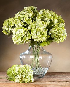 Green Faux Hydrangea Stem | Fake Floral Stems for Flower Designers