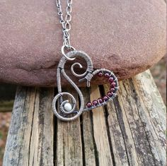Heart Necklace Wire Wrapped Heart Pendant Sterling Silver Garnet Necklace January Birthstone Valentines Day One Of A Kind Artisan Jewelry by PeacefulVibesJewelry on Etsy