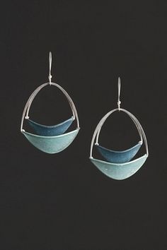 Earrings   Tia Kramer. 'Stacked Oval Slivers' Sterling and Handmade Paper