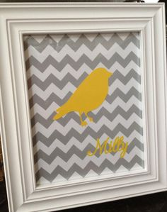 grey and yellow chevron print nursery art, could make bird pink or put photo on top of print