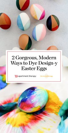 We love the idea of using modern design trends for decorating Easter eggs. Learn how to make beautiful color-blocked eggs and how to tie-dye eggs for a creative, modern twist that's easy to do – and display at Easter brunch! #sponsored #IncredibleEggs