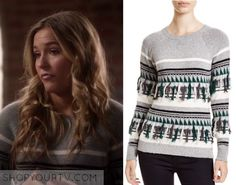 Nashville: Season 4 Episode 11 Maddie's Grey Striped Fringe Sweater