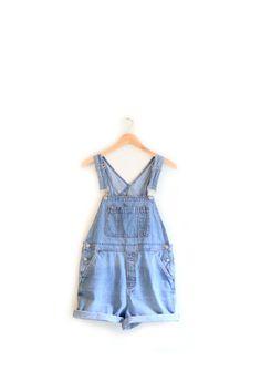 Vintage Blue Denim Overall Shorts - 90s Gap Bib Jean Overalls