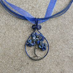 Lapis Tree of Life Pendant Earthjustice Wire Wrapped