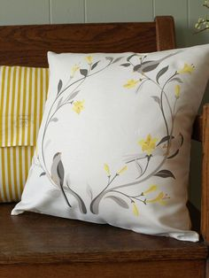 Little Grey Birds and Yellow Floral Wreath Pillow in Linen Cotton 16x16. $58.00, via Etsy.