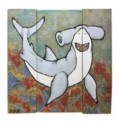 Hammer Time - Original Acrylic & Ink Shark Painting by Ash Lethal - ONLY $75.00