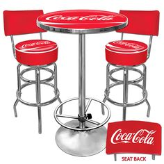 Coca-Cola 2 Shop Stools with Backrest and Table Combo - Car Guy Garage