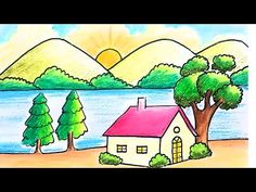 How to draw easy scenery for kids scenery for beginners step by step scenery with oil pastel Nature Drawing For Kids, Easy Scenery Drawing, Landscape Drawing Easy, Easy Drawings For Kids, Cartoon Girl Drawing, Cartoon Drawings, Art Drawings, Village Drawing, Mountain Drawing