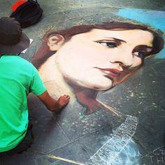 Florence, Italy chalk art via #hallofstreetart flickr