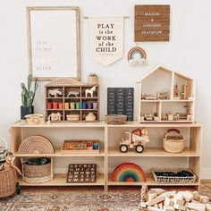 Play Is The Work Of The Child Montessori Canvas Banner Playroom Montessori, Toddler Playroom, Montessori Baby, Maria Montessori, Girl Room, Baby Room, Crib Sets, Toy Rooms, Kids Bedroom