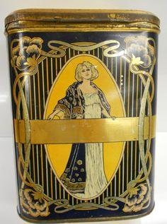 ART NOUVEAU TEA TIN MADE FOR THE EMPIRE TEA CO. 45 QUESNEL ST. MONTREAL TEL. UP 3121 . circa 1910.