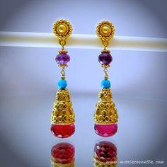 Mandarin oriental - fuchsia pink quartz, turquoise and amethyst gold dangle drop earrings. Maria Cossutta. by MariaCossuttaMonaco on Etsy https://www.etsy.com/listing/206654072/mandarin-oriental-fuchsia-pink-quartz